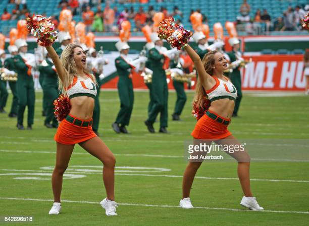 The Miami Hurricanes cheerleaders perform prior to the game against the Bethune Cookman Wildcats on September 2 2017 at Hard Rock Stadium in Miami...