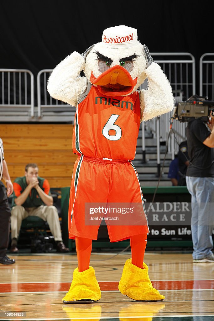 The Miami Hurricanes mascot 'Sebastian the Ibis' performs during a time out against the Virginia Cavaliers on January 6, 2013 at the BankUnited Center in Coral Gables, Florida. The Hurricanes defeated the Cavaliers 58-52.
