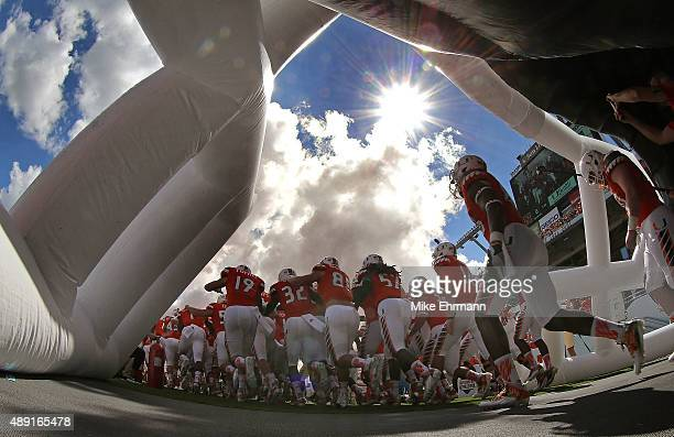The Miami Hurricanes take the field during a game against the Nebraska Cornhuskers at Sun Life Stadium on September 19 2015 in Miami Gardens Florida