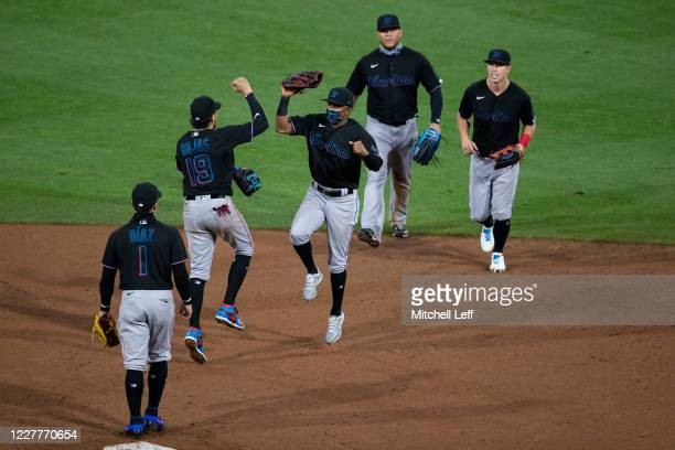 The Miami Marlins celebrate their Opening Day win against the Philadelphia Phillies at Citizens Bank Park on July 24, 2020 in Philadelphia,...