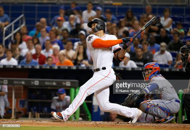 The Miami Marlins' Giancarlo Stanton hits a solo home run against the New York Mets at Marlins Park in Miami on June 29 2017