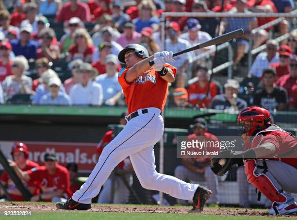 The Miami Marlins' JT Realmuto strikes out swinging during the first inning against the St Louis Cardinals at Roger Dean Chevrolet Stadium in Jupiter...