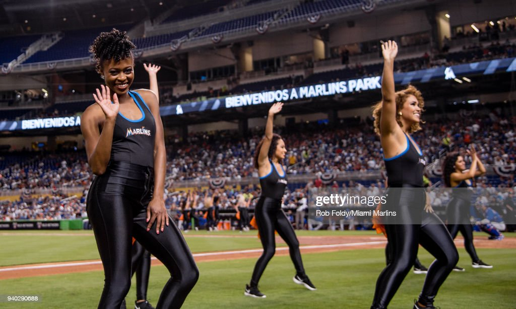 The Miami Marlins mermaids perform during the game against the Chicago Cubs at Marlins Park on March 30, 2018 in Miami, Florida.