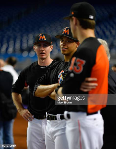 The Miami Marlins top three draft picks Trevor Rogers Brian Miller and Joe Dunand visit Marlins Park for a press conference before the game between...