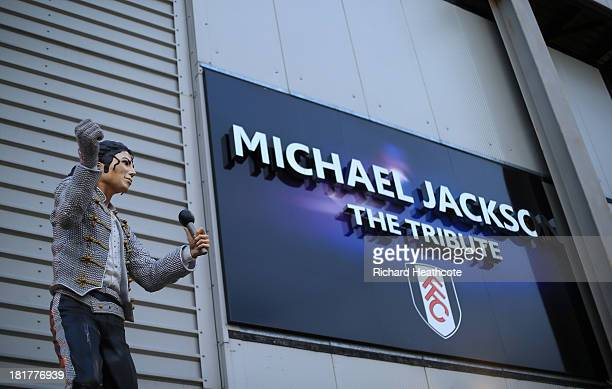 The Michael Jackson tribute statue before the Captial One Cup Third Round match between Fulham and Everton at Craven Cottage on September 24 2013 in...