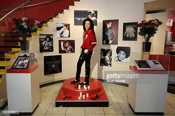 The Michael Jackson Wax figure appears on display at the Michael Jackson Tribute Exhibit at Madame Tussauds on June 23 2010 in New York City