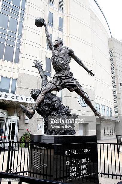 The Michael Jordan statue by Omri and Julie Rotblatt-Amrany sits at United Center in Chicago, Illinois on SEPT 06, 2009.