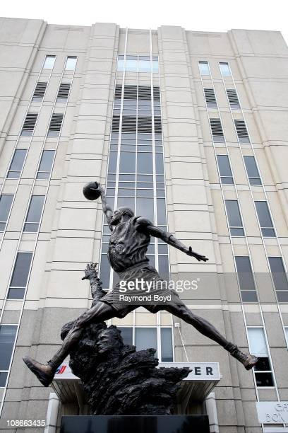 The Michael Jordan statue by Omri and Julie RotblattAmrany sits at United Center in Chicago Illinois on SEPT 06 2009