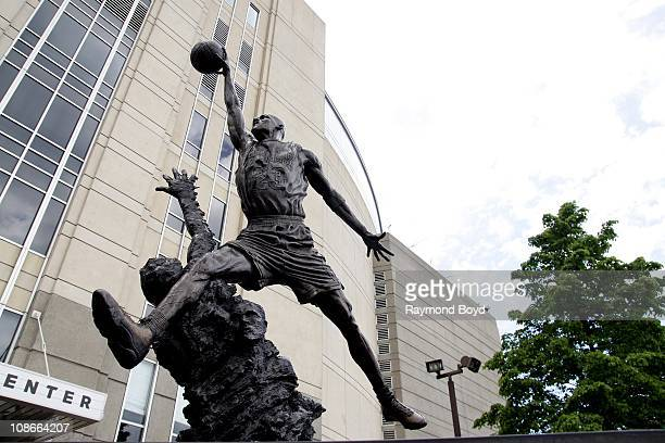 The Michael Jordan statue by Omri and Julie RotblattAmrany sits at United Center in Chicago Illinois on MAY 05 2010