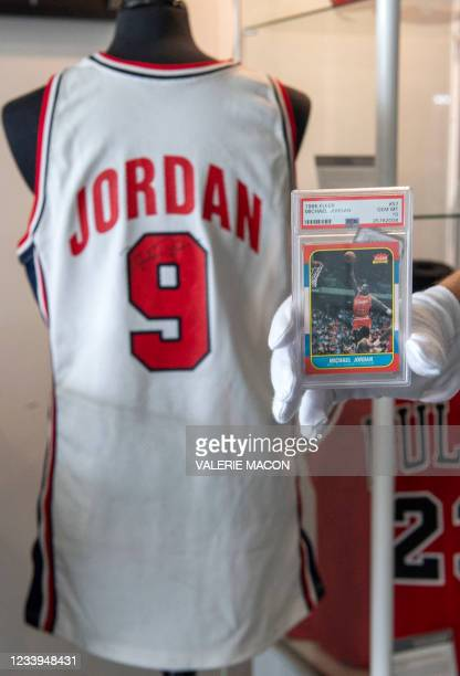 The Micheal Jordan 1986 Fleer Rookie Card, estimated between $200,000 and $400 is seen at the preview of Julien's Sports Legends Auction in Beverly...