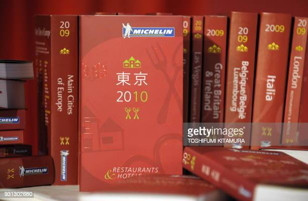 The Michelin Guide Tokyo 2010 is shows during a press conference in Tokyo on November 17 2009 The third Michelin Guide Tokyo 2020 offers a selection...