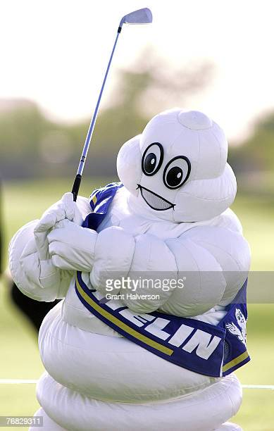 The Michelin Man works on his swing on the driving range during the first round of the 2005 Michelin Championship Thursday Oct 13 at the TPC at...