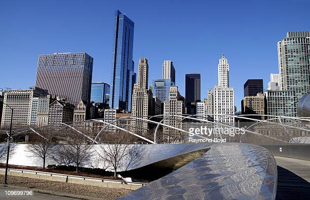 The Michigan Avenue Skyline is seen from the BP Bridge in Millennium Park in Chicago Illinois on FEB 18 2011