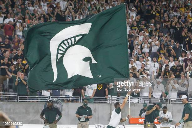 The Michigan State Spartans logo on a flag during the college football game between the Michigan State Spartans and the Arizona State Sun Devils on...