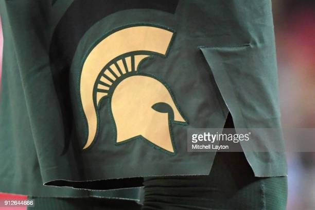 The Michigan State Spartans logo on a pair of shorts during a college basketball game against the Maryland Terrapins at The Xfinity Center on January...