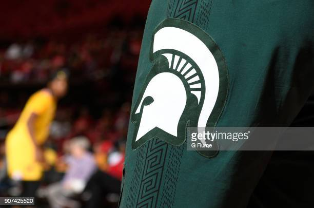 The Michigan State Spartans logo on a uniform during the game against the Maryland Terrapins at Xfinity Center on January 11 2018 in College Park...