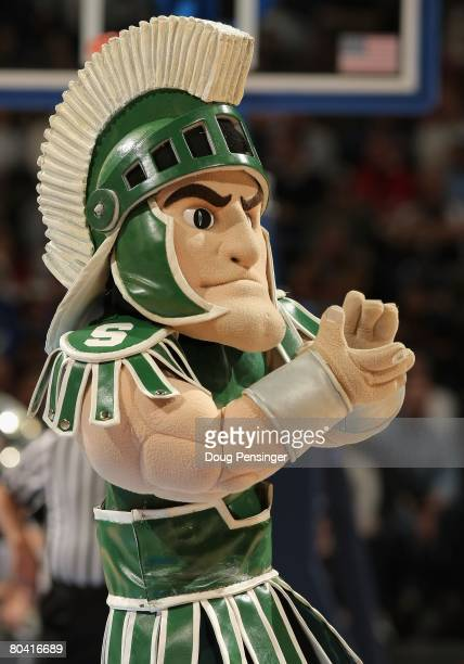 The Michigan State Spartans mascot performs during the second round game of the South Regional against the Pittsburgh Panthers as part of the 2008...