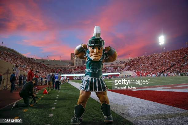 The Michigan State Spartans mascot Sparty flexes during the game against the Indiana Hoosiers at Memorial Stadium on September 22, 2018 in...