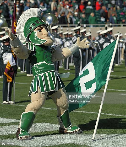 The Michigan State Spartans mascot Sparty performs during the game against the Northwestern Wildcats at Spartan Stadium on October 17, 2009 in East...
