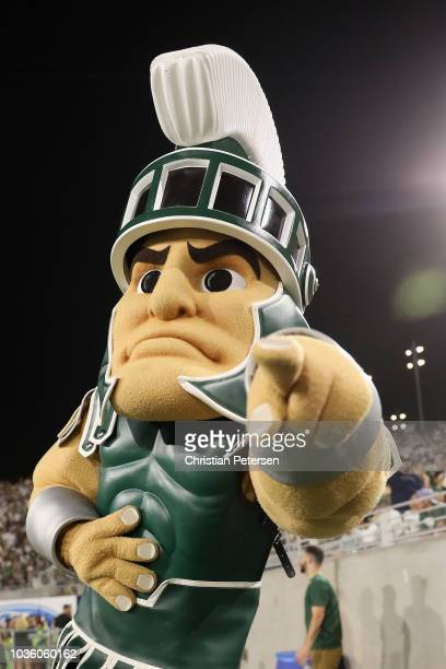 The Michigan State Spartans mascot Sparty performs during the second half of the college football game against the Arizona State Sun Devils at Sun...