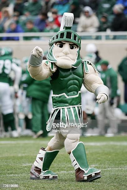 The Michigan State Spartans mascot Sparty walks on the field during the game against the Minnesota Golden Gophers at Spartan Stadium on November 11,...