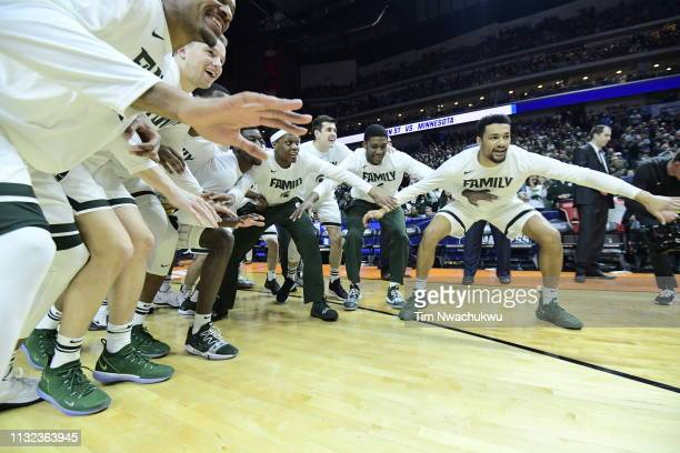 The Michigan State Spartans take on the Minnesota Gophers at Wells Fargo Arena on March 23 2019 in Des Moines Iowa