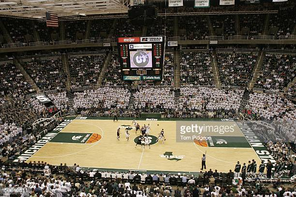 The Michigan State Spartans tip-off against the Iowa Hawkeyes at the Breslin Center on January 21, 2006 in East Lansing, Michigan. Michgan State won...