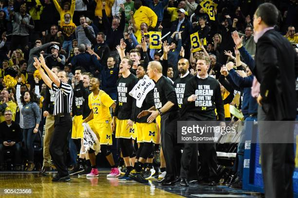 The Michigan Wolverines cheers a three point basket during the Michigan Wolverines game versus the Maryland Terrapins on Monday January 15 2018 at...