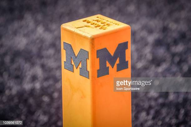 The Michigan Wolverines end zone marker during the Michigan Wolverines versus Nebraska Cornhuskers game on Saturday September 22 2018 at Michigan...
