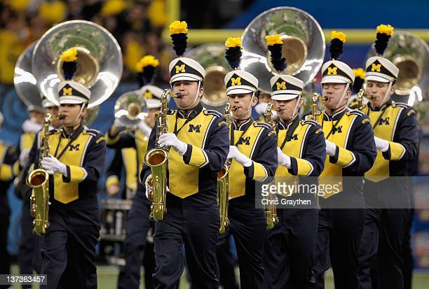 The Michigan Wolverines marching band performs against the Virginia Tech Hokies during the Allstate Sugar Bowl at MercedesBenz Superdome on January 3...