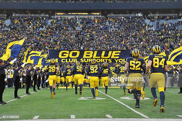 The Michigan Wolverines take the field prior to the NCAA football game between the Indiana Hoosiers and Michigan Wolverines on November 19 at...