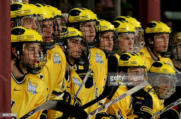 The Michigan Wolverines watch the action from the bench against the Notre Dame Fighting Irish in the third period of their semifinal game at the 2008...