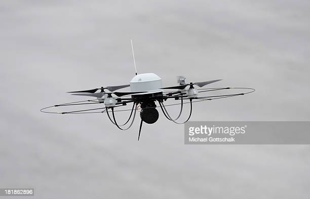 The micro UAV reconaissance drone Mikado during a maneuver of the German Forces Bundeswehr on September 18 2013 in Munster Germany