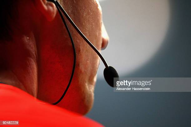 The microfone of the Referee is seen during the DFB Cup round of 16 match between 1860 Muenchen and FC Schalke 04 at Allianz Arena on October 28 2009...