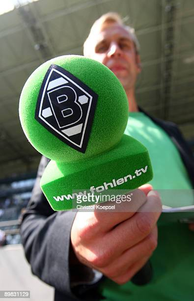 The microphone of Gladbach is seen before the Bundesliga match between Borussia Moenchengladbach and Hertha BSC Berlin at the Borussia Park on August...
