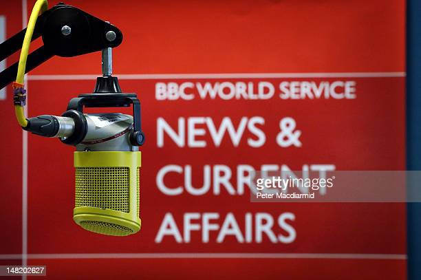 The microphone used to read the BBC World Service last ever bulletin from Bush House on July 12 2012 in London England Bush House home to World...