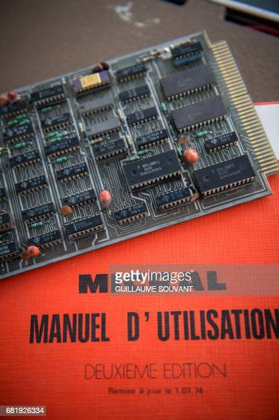 The microprocessor's card of the first microcomputer named Micral N is displayed on May 11 2017 in Tours ahead of an auction next month The Micral M...