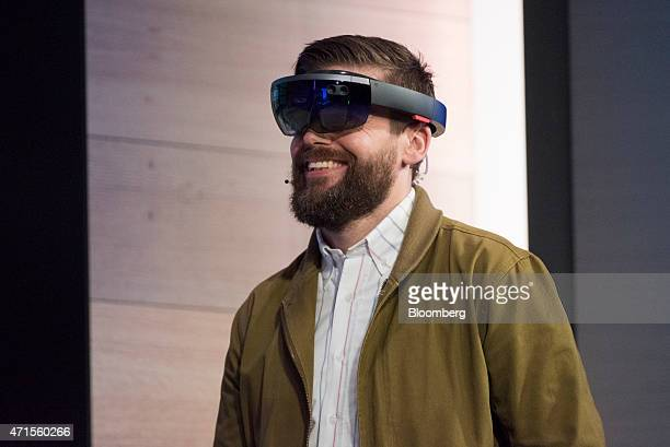 The Microsoft Corp HoloLens augmented reality headset is demonstrated during a keynote session at the Microsoft Developers Build Conference in San...