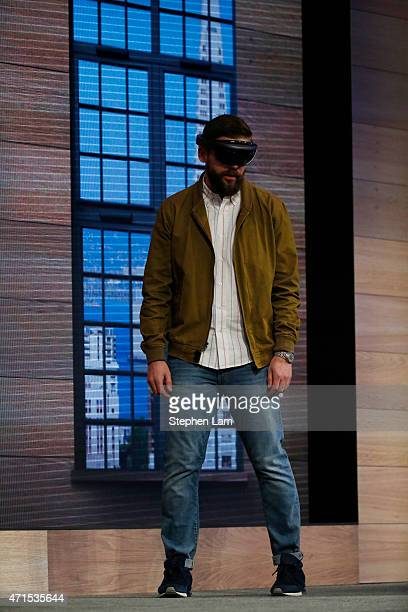 The Microsoft HoloLens augmented reality headset is demonstrated on stage during the 2015 Microsoft Build Conference on April 29 2015 at Moscone...