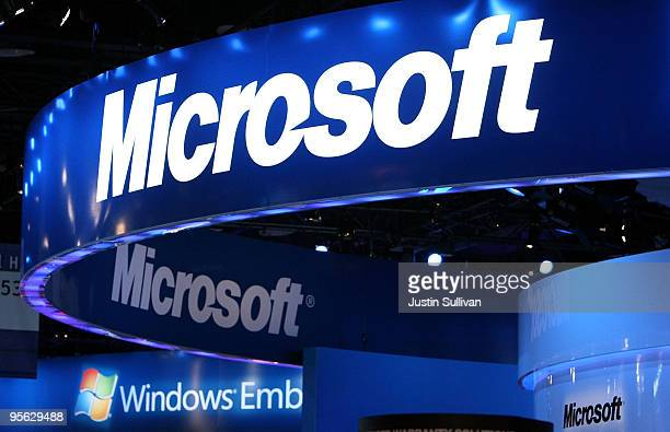 The Microsoft logo is displayed over the Microsoft booth at the 2010 International Consumer Electronics Show at the Las Vegas Hilton January 7 2010...