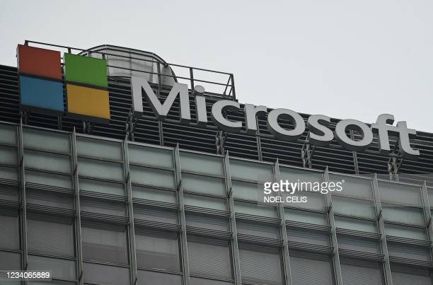 The Microsoft logo is seen at its local headquarters in Beijing on July 20 the day after the US accused Beijing of carrying out cyber attack on...