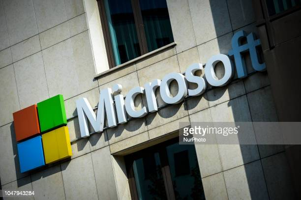 The Microsoft logo is seen on an office building in central Bucharest Romania on October 9 2018