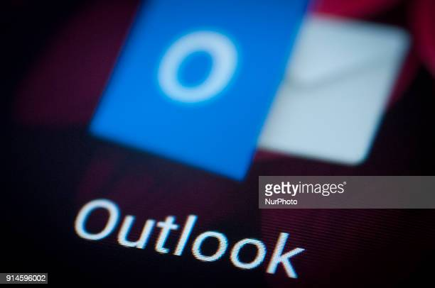 The Microsoft Outlook app is seen on an Android portable device on February 5 2018