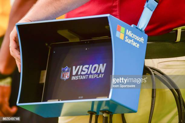 The Microsoft Surface instant replay monitor stands ready on the sideline during the football game between the Cleveland Browns and the Houston...