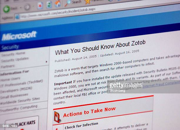 The Microsoft virus warning Web page with information on the Zotob computer virus is seen on a computer in Frankfurt Germany Wednesday August 17 2005...