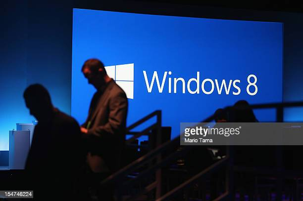 The Microsoft Windows 8 logo is displayed following a press conference unveiling the Microsoft Windows 8 operating system on October 25, 2012 in New...