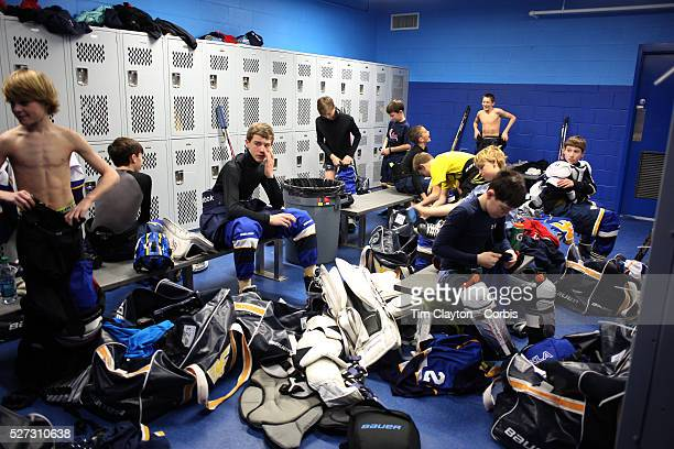 The Mid Fairfield Yankees Pee Wee Major Ice Hockey team prepare in the dressing room for their match against the Philadelphia Junior Flyers at...