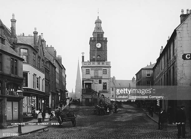 The Mid Steeple on the High Street in Dumfries, in the south west of Scotland, circa 1900.