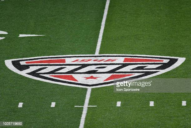 The MidAmerican Conference logo is displayed on the field during the college football game between the Central Connecticut State University Blue...