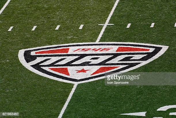 The MidAmerican Conference logo on the field during the game between the Eastern Michigan Eagles and the Ball State Cardinals on November 8 at...